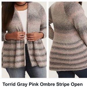 Torrid Gray Pink Open Cardigan